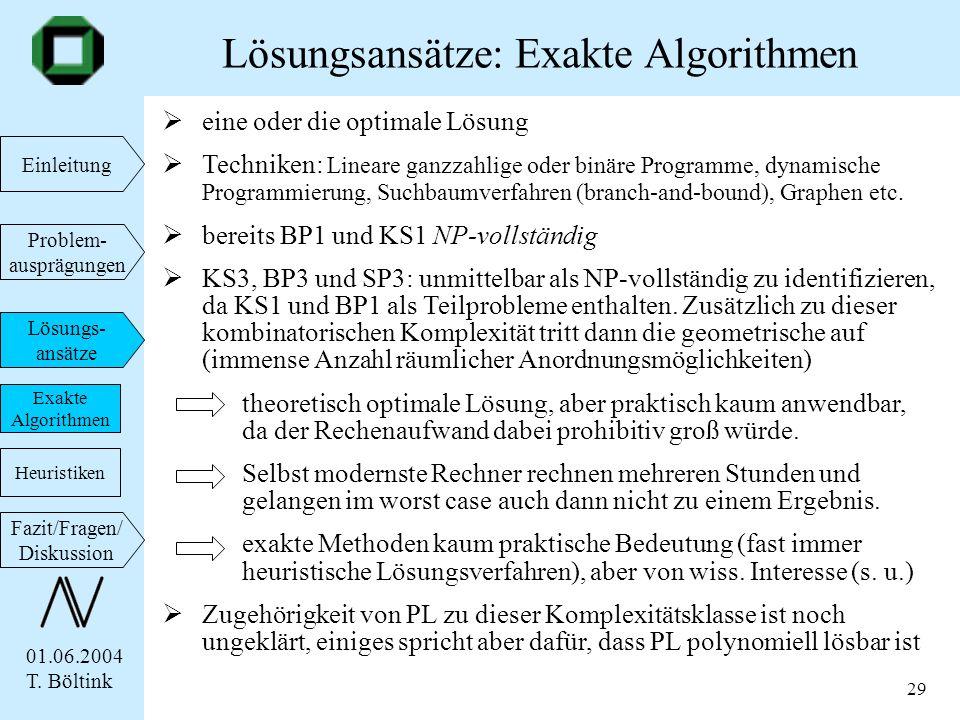 01.06.2004 T. Böltink Einleitung Problem- ausprägungen Lösungs- ansätze Fazit/Fragen/ Diskussion 29 eine oder die optimale Lösung Techniken: Lineare g