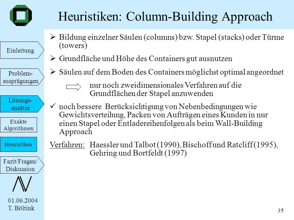 01.06.2004 T. Böltink Einleitung Problem- ausprägungen Lösungs- ansätze Fazit/Fragen/ Diskussion 35 Bildung einzelner Säulen (columns) bzw. Stapel (st