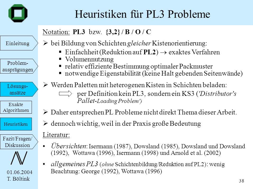 01.06.2004 T. Böltink Einleitung Problem- ausprägungen Lösungs- ansätze Fazit/Fragen/ Diskussion 38 Notation: PL3 bzw. {3,2} / B / O / C bei Bildung v