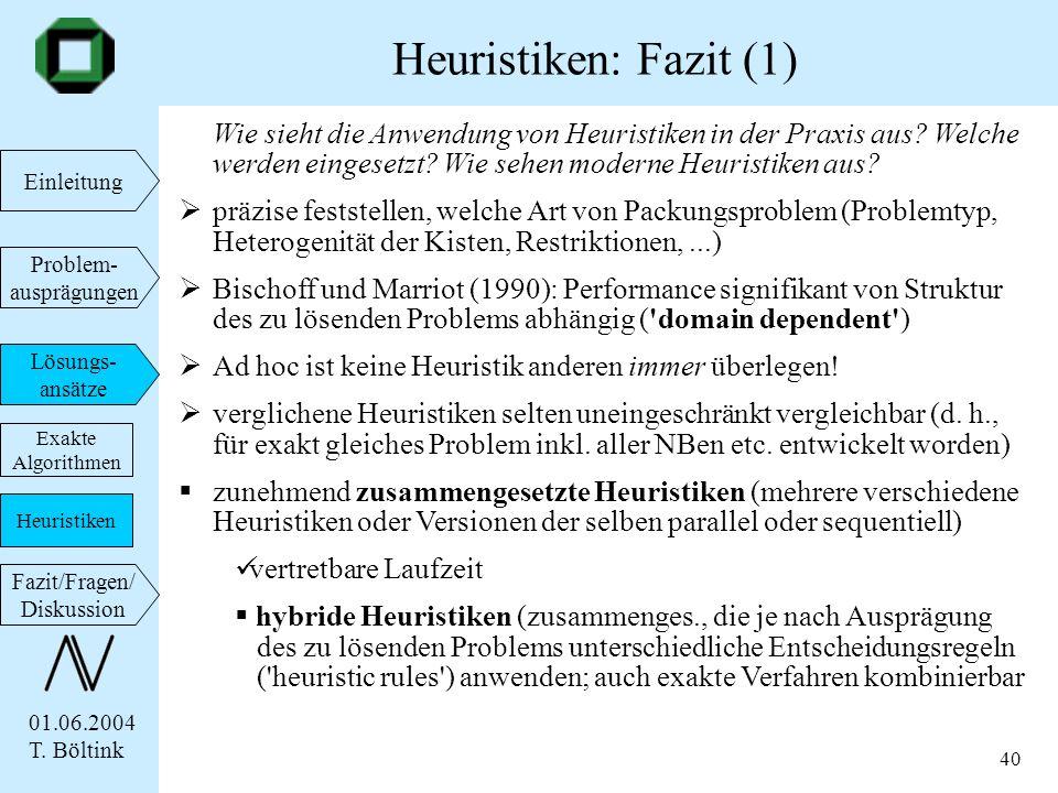 01.06.2004 T. Böltink Einleitung Problem- ausprägungen Lösungs- ansätze Fazit/Fragen/ Diskussion 40 Wie sieht die Anwendung von Heuristiken in der Pra