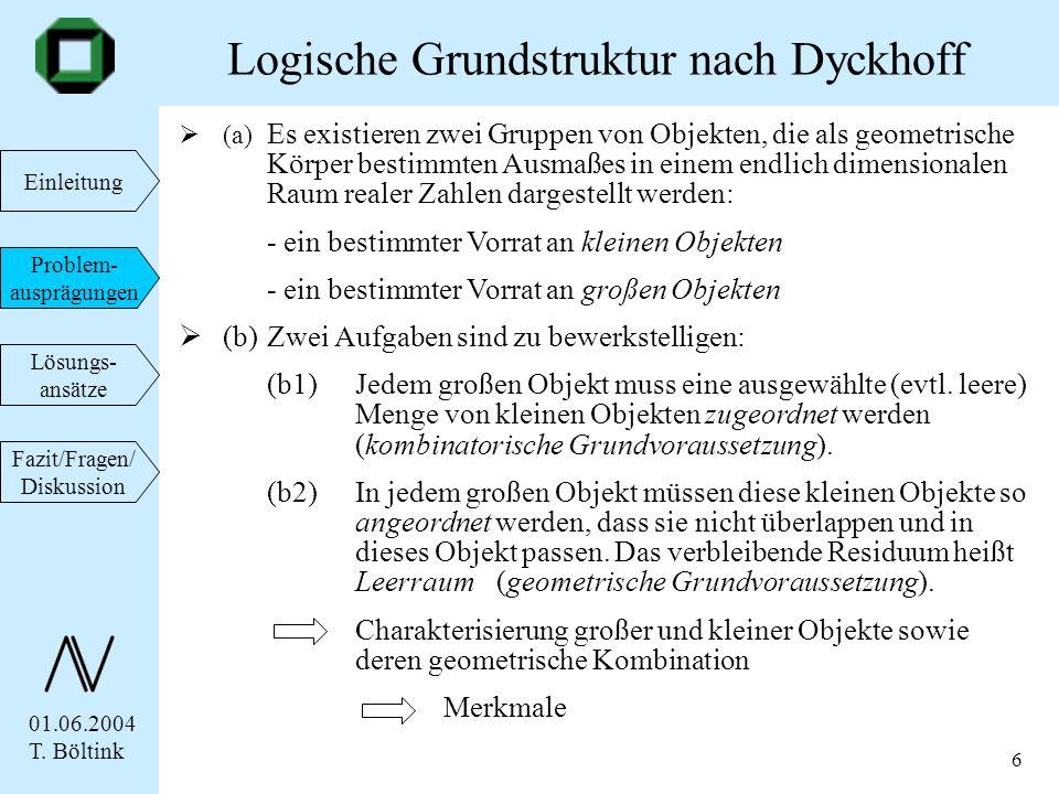 01.06.2004 T. Böltink Einleitung Problem- ausprägungen Lösungs- ansätze Fazit/Fragen/ Diskussion 6 Logische Grundstruktur nach Dyckhoff (a) Es existie