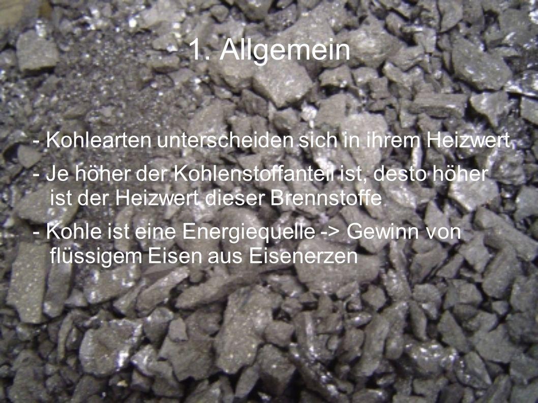 1. Allgemein - Kohlearten unterscheiden sich in ihrem Heizwert - Je höher der Kohlenstoffanteil ist, desto höher ist der Heizwert dieser Brennstoffe -