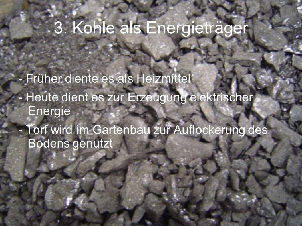 3. Kohle als Energieträger - Früher diente es als Heizmittel - Heute dient es zur Erzeugung elektrischer Energie - Torf wird im Gartenbau zur Auflocke