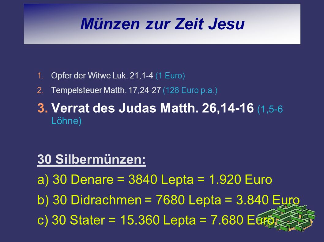 Münzen zur Zeit Jesu 1.Opfer der Witwe Luk. 21,1-4 (1 Euro) 2.Tempelsteuer Matth. 17,24-27 (128 Euro p.a.) 3.Verrat des Judas Matth. 26,14-16 (1,5-6 L