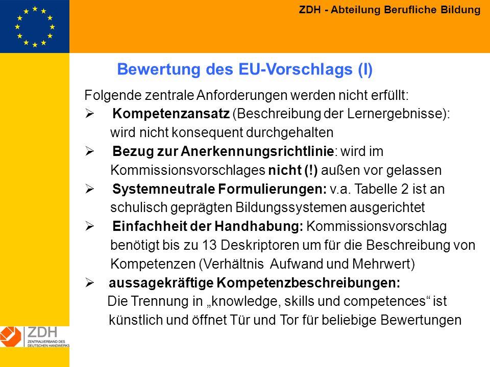 ZDH - Abteilung Berufliche Bildung Bewertung des EU-Vorschlags (I) Folgende zentrale Anforderungen werden nicht erfüllt: Kompetenzansatz (Beschreibung