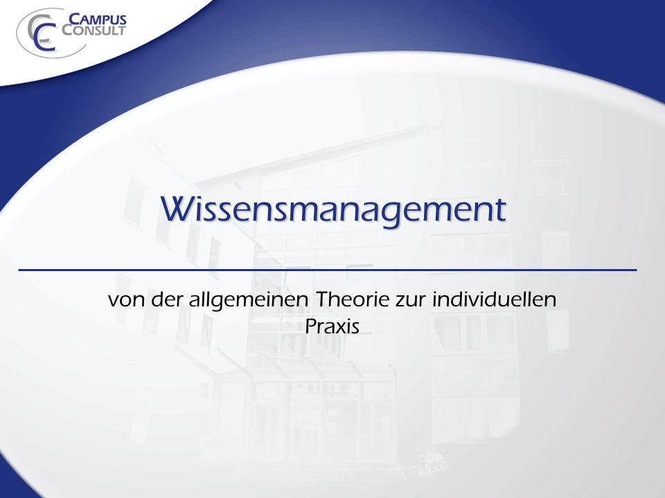 Wissensmanagement von der allgemeinen Theorie zur individuellen Praxis