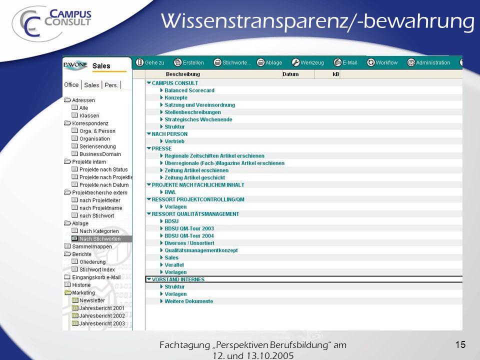 Fachtagung Perspektiven Berufsbildung am 12. und 13.10.2005 15 Wissenstransparenz/-bewahrung