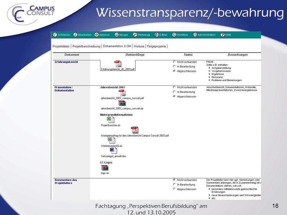 Fachtagung Perspektiven Berufsbildung am 12.und 13.10.2005 17 Wissensverteilung 3.