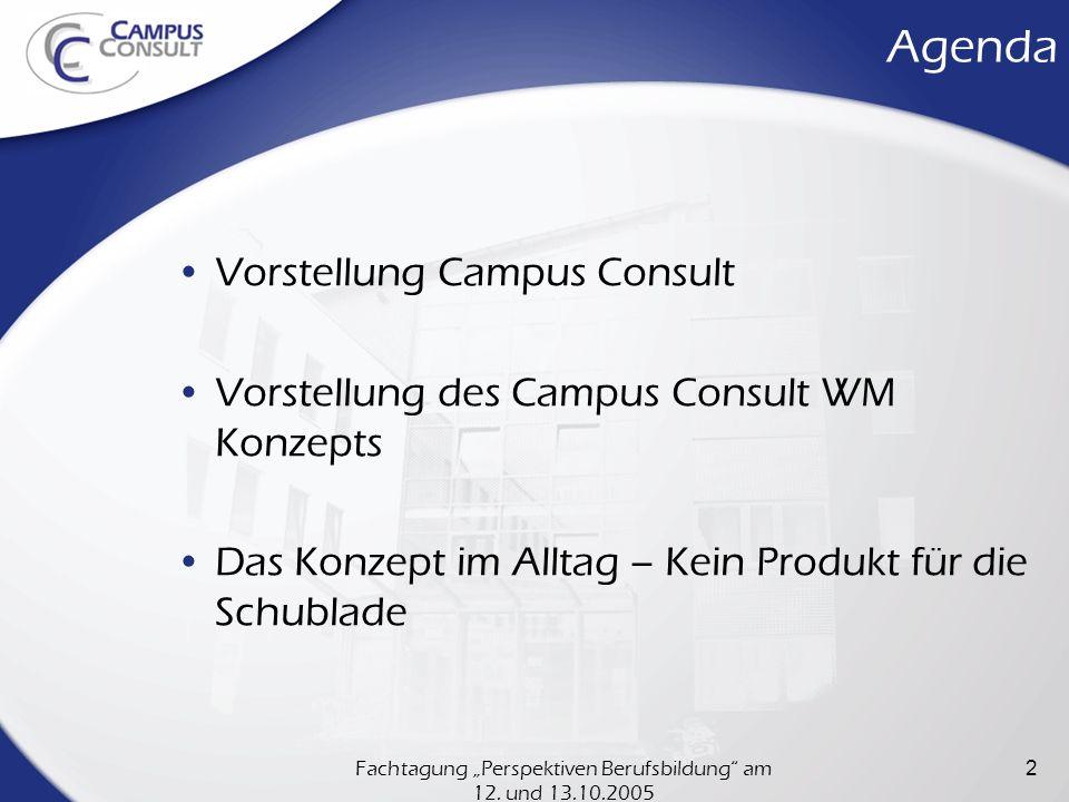 Fachtagung Perspektiven Berufsbildung am 12. und 13.10.2005 2 Agenda Vorstellung Campus Consult Vorstellung des Campus Consult WM Konzepts Das Konzept