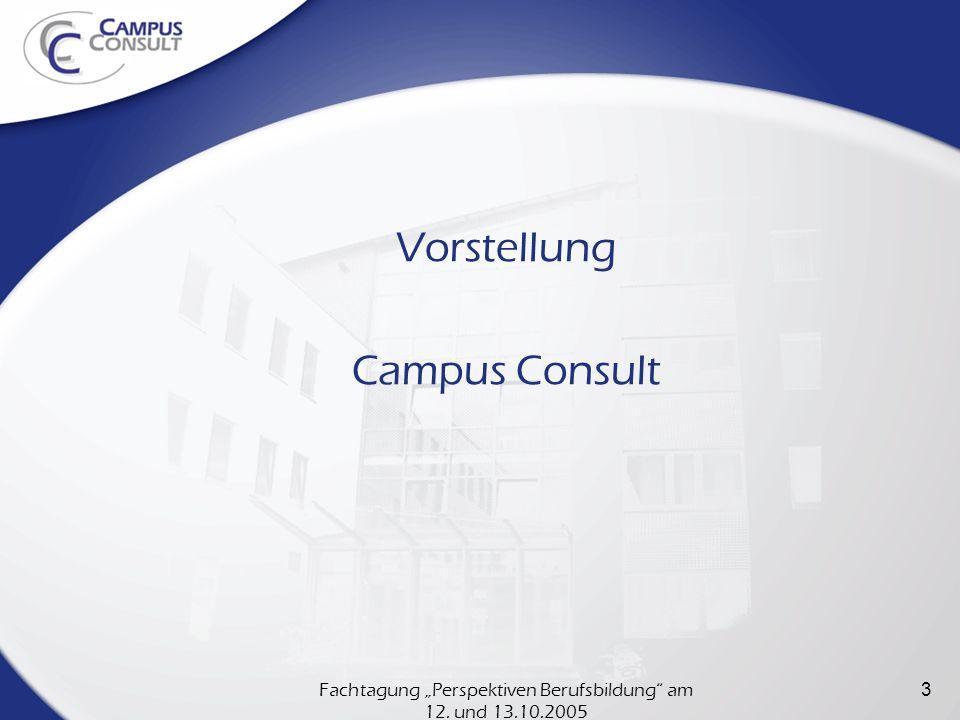 Fachtagung Perspektiven Berufsbildung am 12. und 13.10.2005 3 Vorstellung Campus Consult