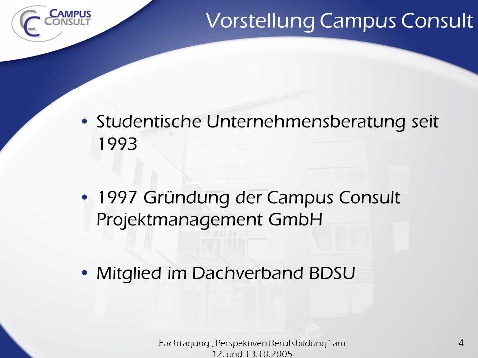 Fachtagung Perspektiven Berufsbildung am 12. und 13.10.2005 4 Vorstellung Campus Consult Studentische Unternehmensberatung seit 1993 1997 Gründung der
