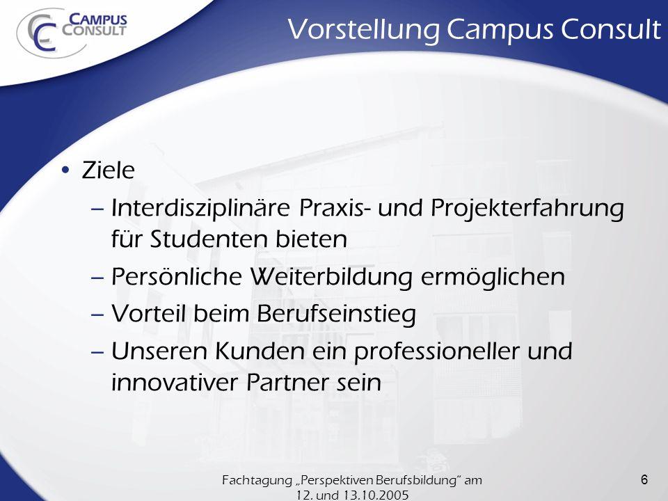 Fachtagung Perspektiven Berufsbildung am 12. und 13.10.2005 6 Vorstellung Campus Consult Ziele –Interdisziplinäre Praxis- und Projekterfahrung für Stu