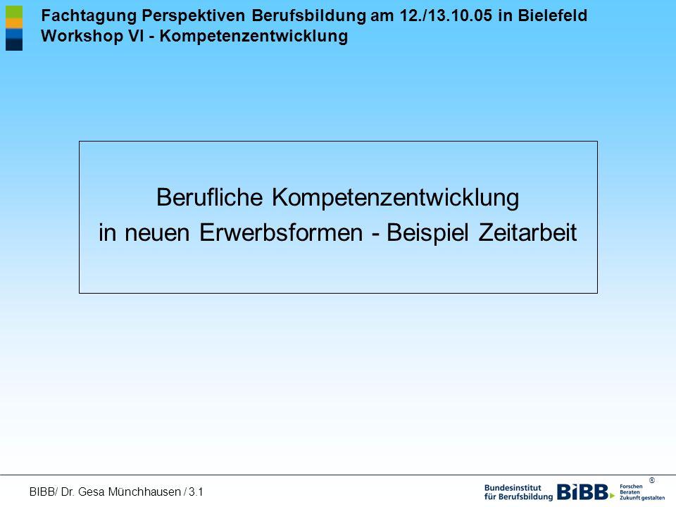 ® Fachtagung Perspektiven Berufsbildung am 12./13.10.05 in Bielefeld Workshop VI - Kompetenzentwicklung Berufliche Kompetenzentwicklung in neuen Erwer