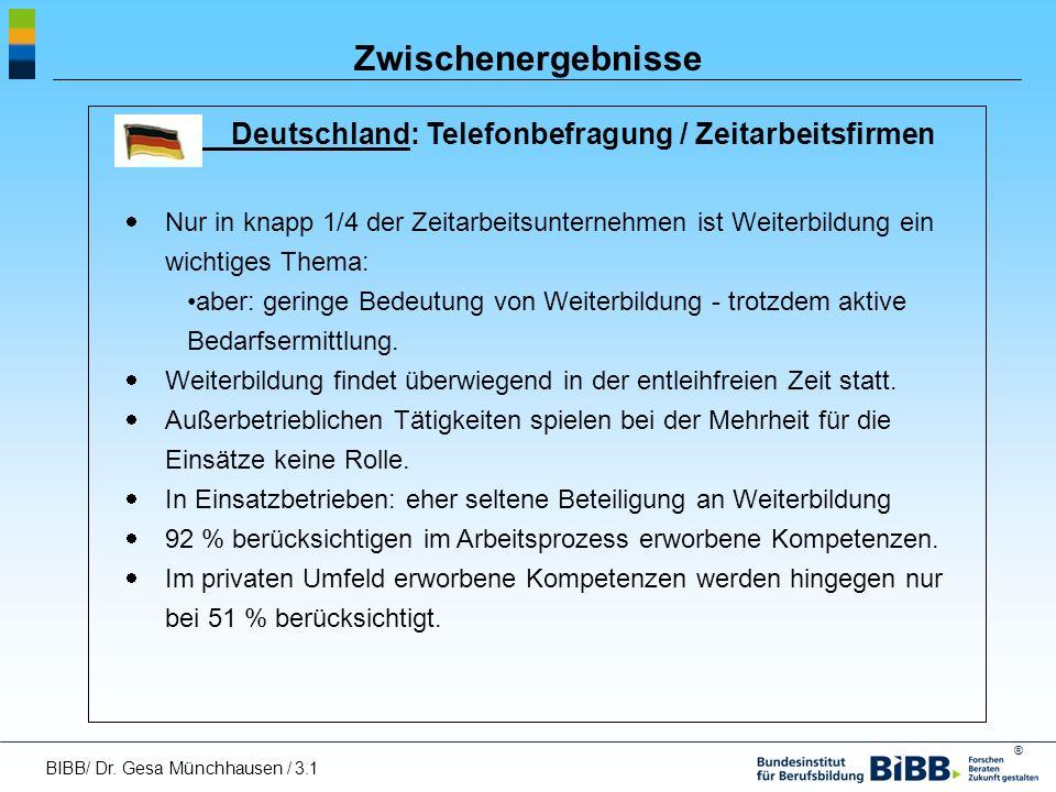 ® Zwischenergebnisse Deutschland: Telefonbefragung / Zeitarbeitsfirmen Nur in knapp 1/4 der Zeitarbeitsunternehmen ist Weiterbildung ein wichtiges The