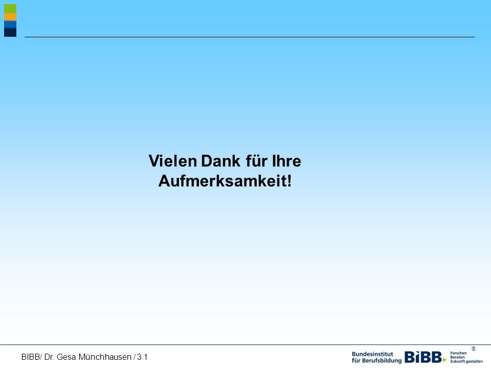 ® Vielen Dank für Ihre Aufmerksamkeit! BIBB/ Dr. Gesa Münchhausen / 3.1