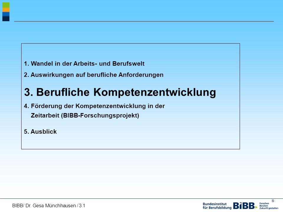® 1. Wandel in der Arbeits- und Berufswelt 2. Auswirkungen auf berufliche Anforderungen 3. Berufliche Kompetenzentwicklung 4. Förderung der Kompetenze