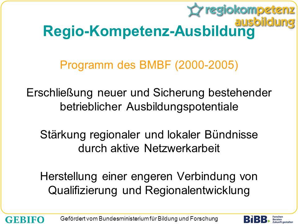 Gefördert vom Bundesministerium für Bildung und Forschung Regio-Kompetenz-Ausbildung Programm des BMBF (2000-2005) Erschließung neuer und Sicherung be