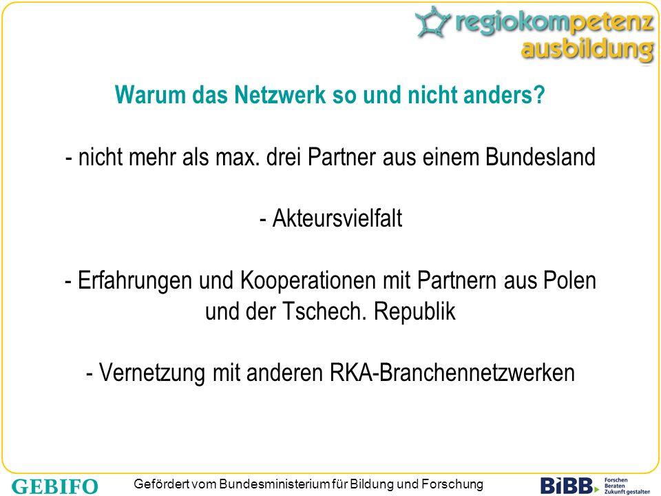 Gefördert vom Bundesministerium für Bildung und Forschung Warum das Netzwerk so und nicht anders? - nicht mehr als max. drei Partner aus einem Bundesl