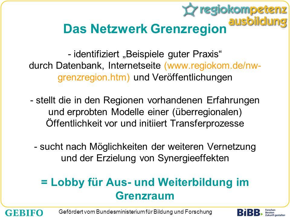Gefördert vom Bundesministerium für Bildung und Forschung Das Netzwerk Grenzregion - identifiziert Beispiele guter Praxis durch Datenbank, Internetsei
