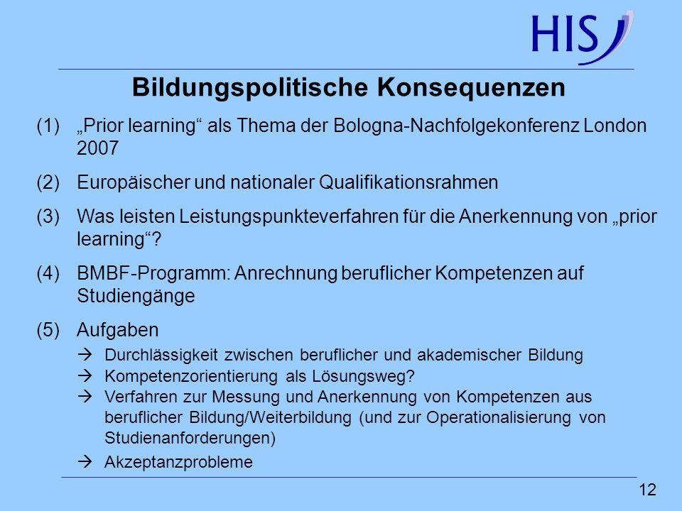 12 Bildungspolitische Konsequenzen (1)Prior learning als Thema der Bologna-Nachfolgekonferenz London 2007 (2)Europäischer und nationaler Qualifikation