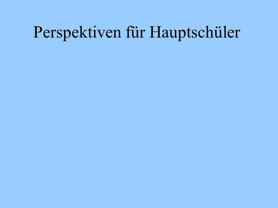 Perspektiven für Hauptschüler Ohne Ausbildung ins Berufsleben Beruf Mittlerer Bildungsabschluss Berufsaufbau Schule 1 Jahr Berufs-ausbil-dung imdualenSystem2 jähr.