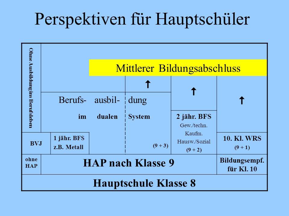 Perspektiven für Hauptschüler Ohne Ausbildung ins Berufsleben Mittlerer Bildungsabschluss Berufs-ausbil-dung imdualenSystem2 jähr. BFS Gew./techn. Kau