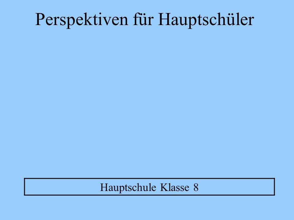 Perspektiven für Hauptschüler Ohne Ausbildung ins Berufsleben Weiterbildung z.B.