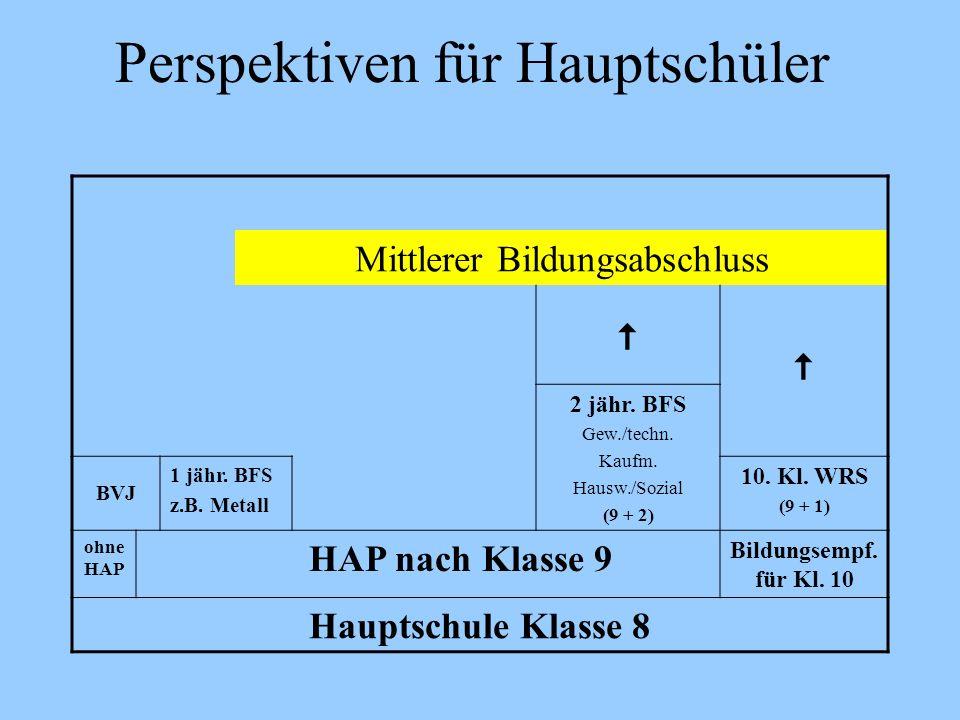 Perspektiven für Hauptschüler Mittlerer Bildungsabschluss 2 jähr. BFS Gew./techn. Kaufm. Hausw./Sozial (9 + 2) BVJ 1 jähr. BFS z.B. Metall 10. Kl. WRS