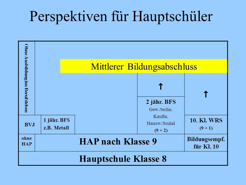Perspektiven für Hauptschüler Ohne Ausbildung ins Berufsleben Mittlerer Bildungsabschluss 2 jähr. BFS Gew./techn. Kaufm. Hausw./Sozial (9 + 2) BVJ 1 j