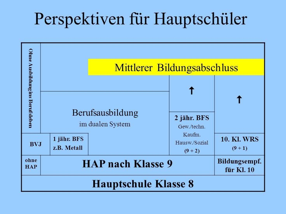 Perspektiven für Hauptschüler Ohne Ausbildung ins Berufsleben Mittlerer Bildungsabschluss Berufsausbildung im dualen System 2 jähr. BFS Gew./techn. Ka