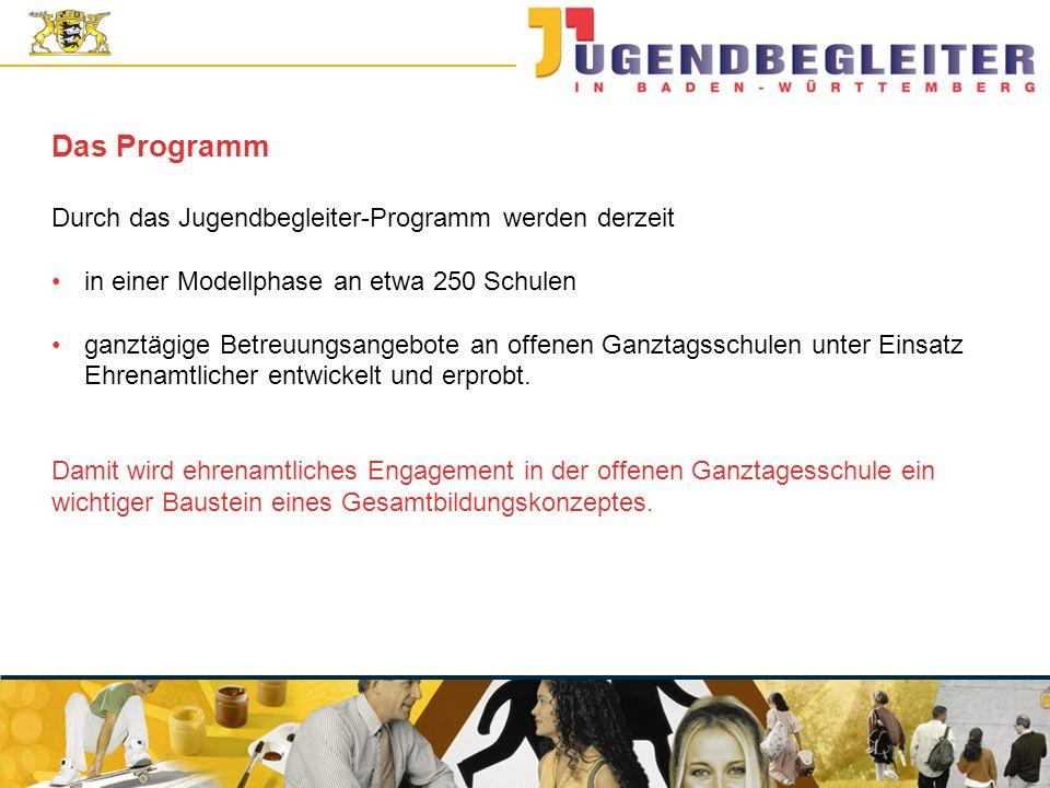 © Jugendstiftung Baden-Württemberg Wolfgang Antes Das Programm Durch das Jugendbegleiter-Programm werden derzeit in einer Modellphase an etwa 250 Schulen ganztägige Betreuungsangebote an offenen Ganztagsschulen unter Einsatz Ehrenamtlicher entwickelt und erprobt.