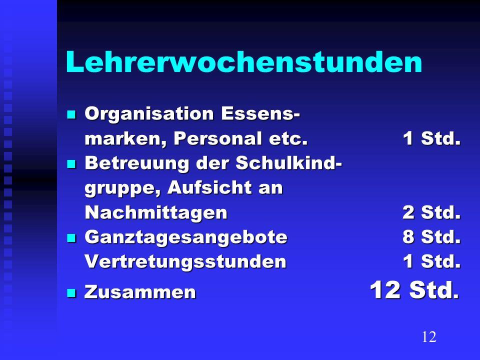 Lehrerwochenstunden Organisation Essens- Organisation Essens- marken, Personal etc. 1 Std. Betreuung der Schulkind- Betreuung der Schulkind- gruppe, A