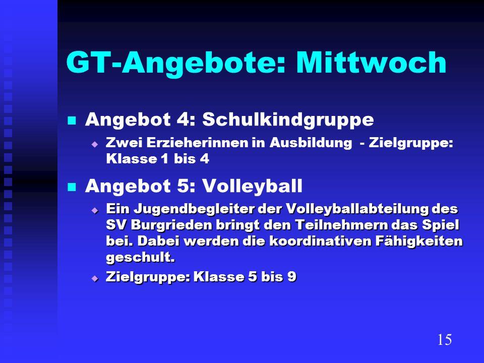 GT-Angebote: Mittwoch Angebot 4: Schulkindgruppe Zwei Erzieherinnen in Ausbildung - Zielgruppe: Klasse 1 bis 4 Angebot 5: Volleyball Ein Jugendbegleit