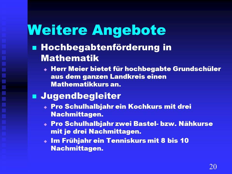 Weitere Angebote Hochbegabtenförderung in Mathematik Herr Meier bietet für hochbegabte Grundschüler aus dem ganzen Landkreis einen Mathematikkurs an.