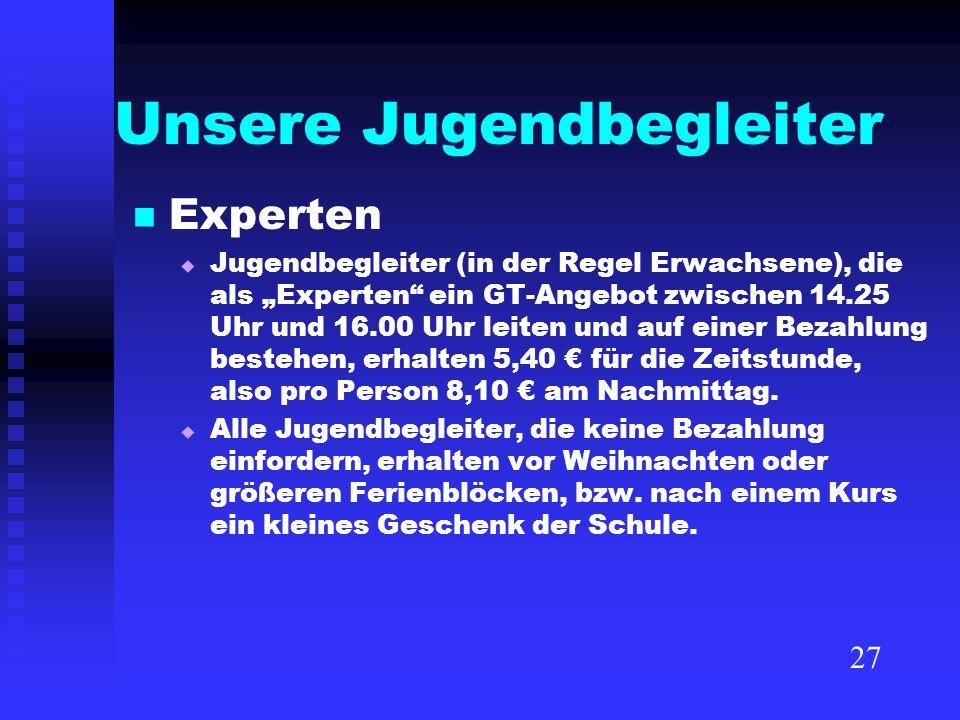 Unsere Jugendbegleiter Experten Jugendbegleiter (in der Regel Erwachsene), die als Experten ein GT-Angebot zwischen 14.25 Uhr und 16.00 Uhr leiten und