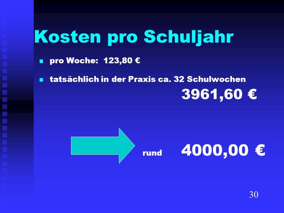 Kosten pro Schuljahr pro Woche: 123,80 tatsächlich in der Praxis ca. 32 Schulwochen 3961,60 rund 4000,00 30