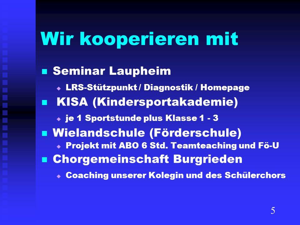 Wir kooperieren mit Seminar Laupheim LRS-Stützpunkt / Diagnostik / Homepage KISA (Kindersportakademie) je 1 Sportstunde plus Klasse 1 - 3 Wielandschul