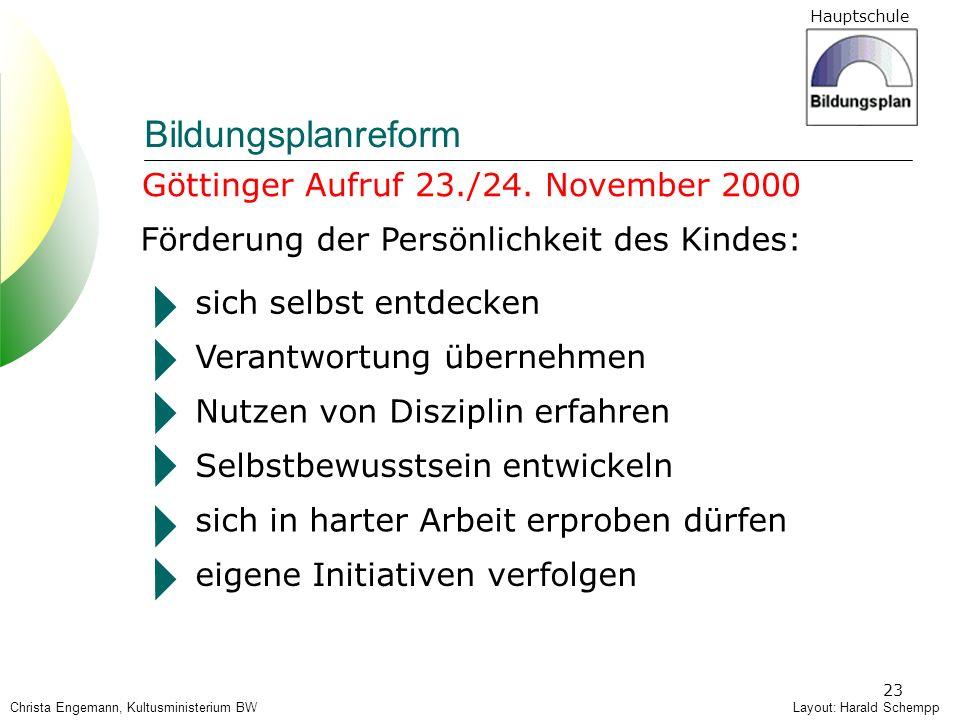 Hauptschule 23 Göttinger Aufruf 23./24. November 2000 Förderung der Persönlichkeit des Kindes: sich selbst entdecken Verantwortung übernehmen Nutzen v