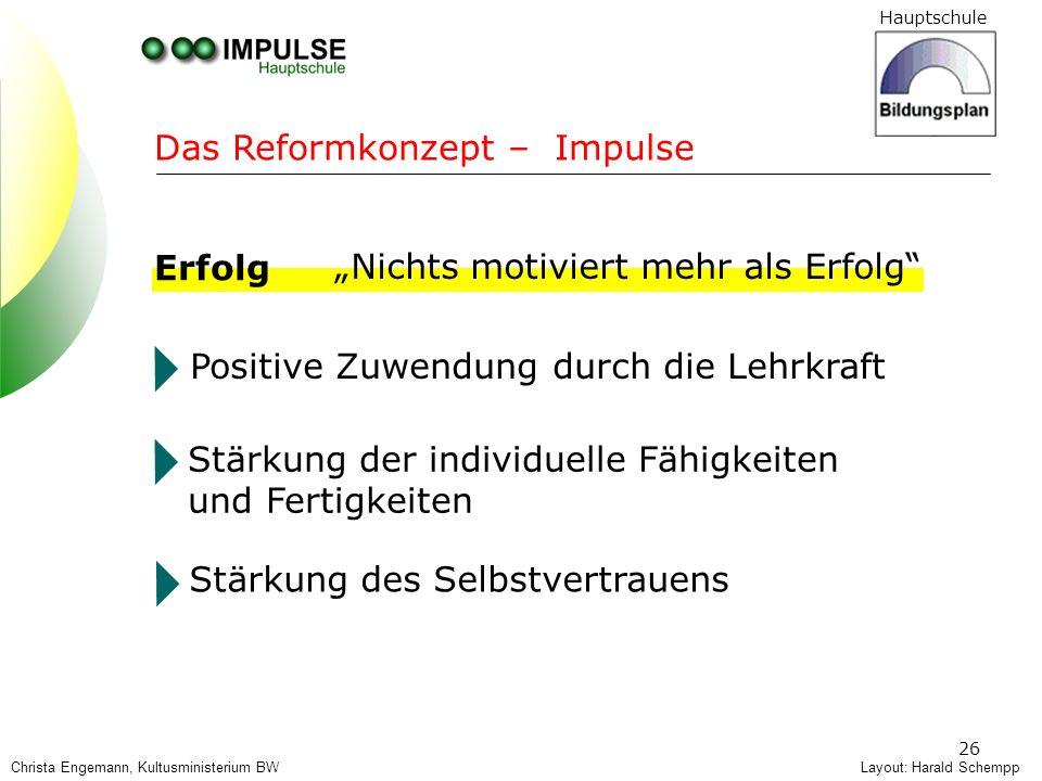 Hauptschule 26 Layout: Harald Schempp Das Reformkonzept – Impulse Erfolg Positive Zuwendung durch die Lehrkraft Stärkung der individuelle Fähigkeiten