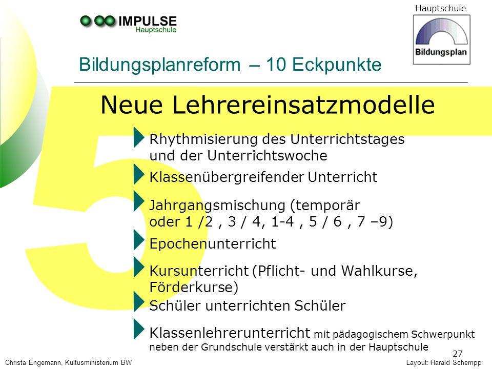 Hauptschule 27 5 Bildungsplanreform – 10 Eckpunkte Neue Lehrereinsatzmodelle Layout: Harald Schempp Rhythmisierung des Unterrichtstages und der Unterr