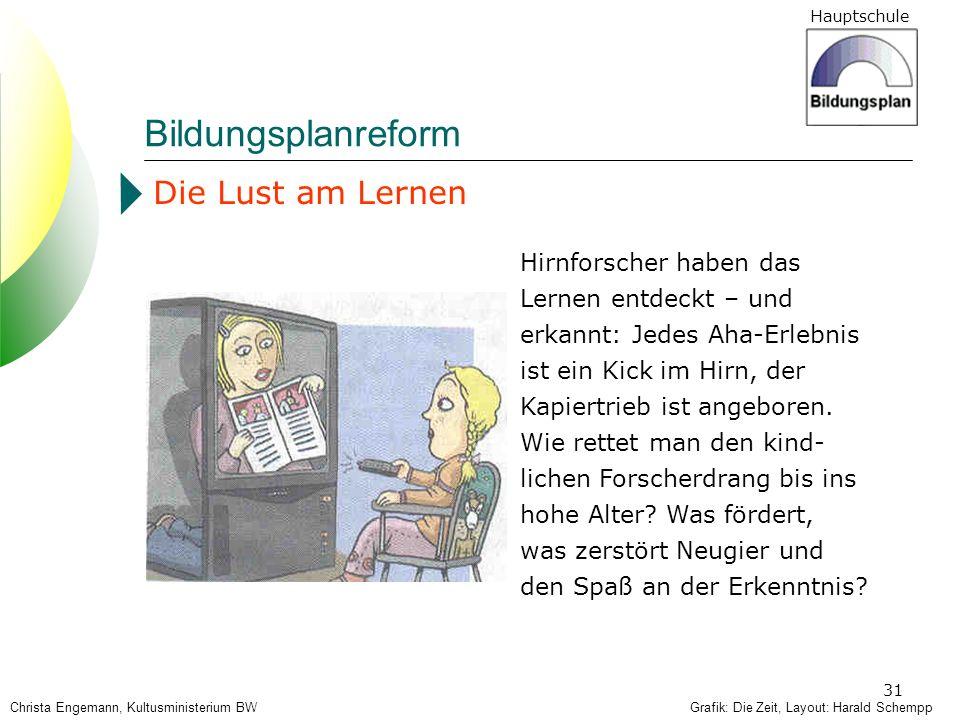 Hauptschule 31 Grafik: Die Zeit, Layout: Harald Schempp Die Lust am Lernen Hirnforscher haben das Lernen entdeckt – und erkannt: Jedes Aha-Erlebnis is