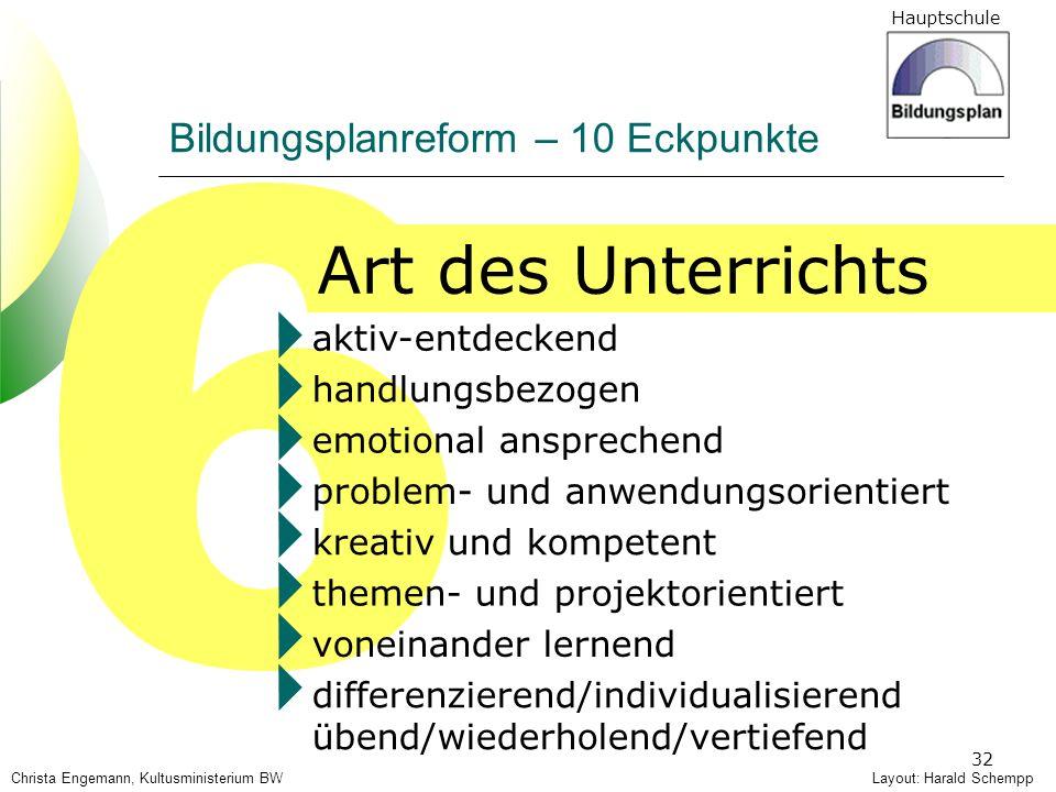 Hauptschule 32 6 Art des Unterrichts Layout: Harald Schempp Bildungsplanreform – 10 Eckpunkte Christa Engemann, Kultusministerium BW aktiv-entdeckend