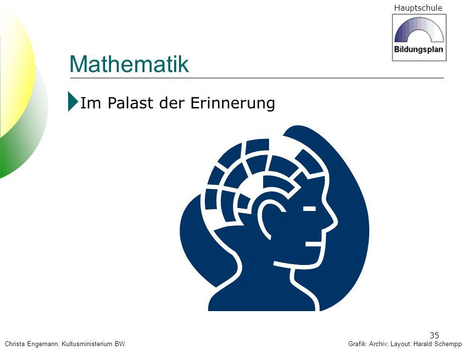 Hauptschule 35 Mathematik Im Palast der Erinnerung Grafik: Archiv; Layout: Harald SchemppChrista Engemann, Kultusministerium BW