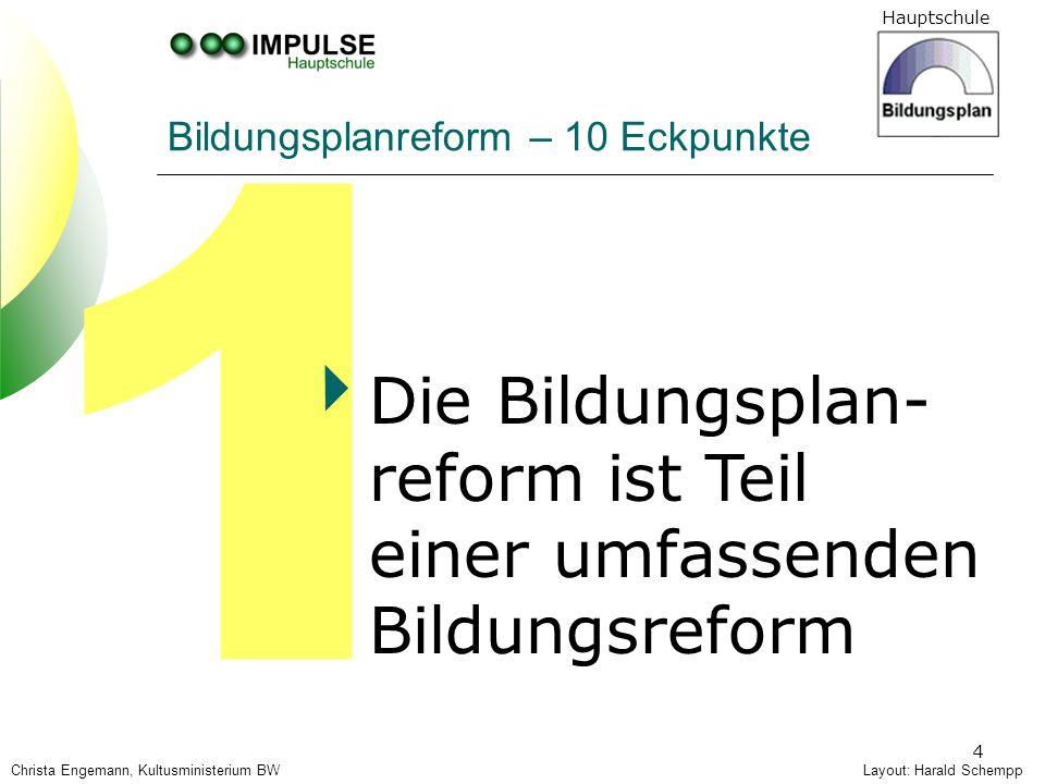 Hauptschule 4 1 Bildungsplanreform – 10 Eckpunkte Die Bildungsplan- reform ist Teil einer umfassenden Bildungsreform Layout: Harald SchemppChrista Eng