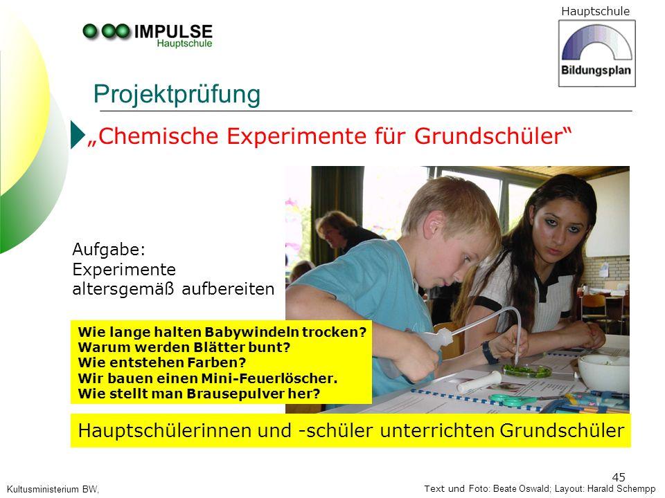 Hauptschule 45 Projektprüfung Text und Foto: Beate Oswald; Layout: Harald Schempp Kultusministerium BW, Chemische Experimente für Grundschüler Hauptsc