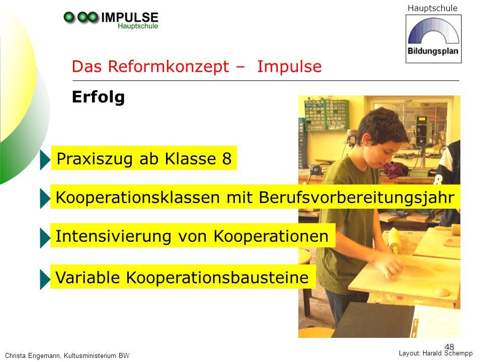 Hauptschule 48 Layout: Harald Schempp Das Reformkonzept – Impulse Erfolg Praxiszug ab Klasse 8 Kooperationsklassen mit Berufsvorbereitungsjahr Intensi