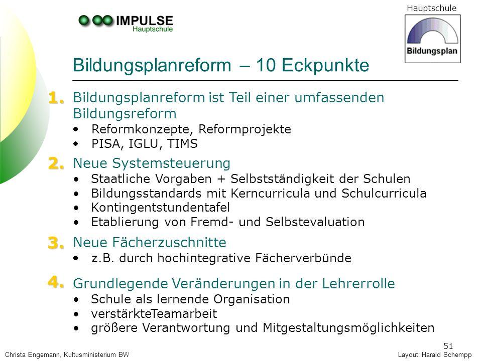 Hauptschule 51 Layout: Harald Schempp Bildungsplanreform ist Teil einer umfassenden Bildungsreform Reformkonzepte, Reformprojekte PISA, IGLU, TIMS Neu