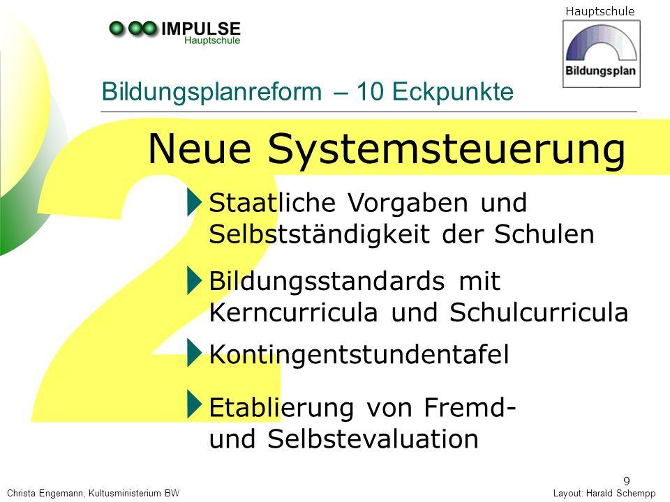 Hauptschule 9 2 Bildungsplanreform – 10 Eckpunkte Neue Systemsteuerung Layout: Harald SchemppChrista Engemann, Kultusministerium BW Bildungsstandards