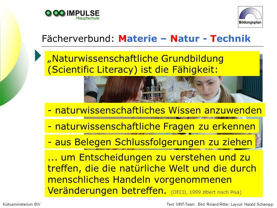 Fächerverbund: Materie – Natur - Technik Text: MNT-Team; Bild: Roland Ritter; Layout: Harald SchemppKultusministerium BW Naturwissenschaftliche Grundb