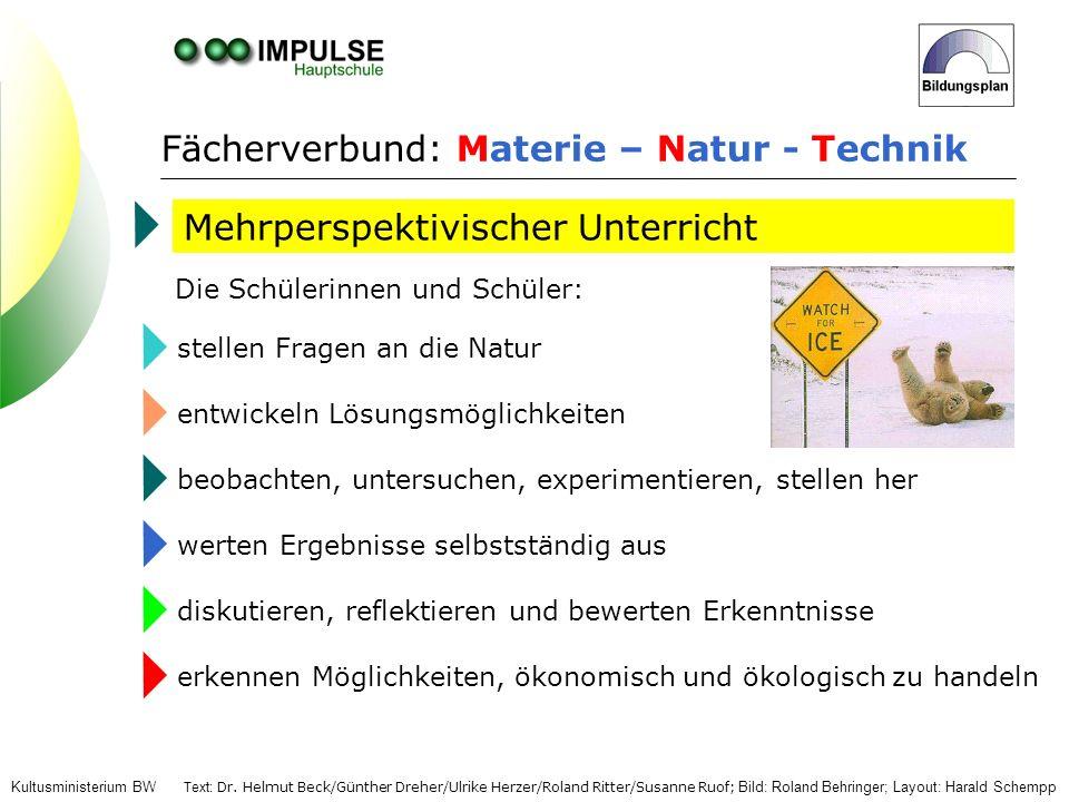 Fächerverbund: Materie – Natur - Technik Mehrperspektivischer Unterricht Die Schülerinnen und Schüler: stellen Fragen an die Naturentwickeln Lösungsmö